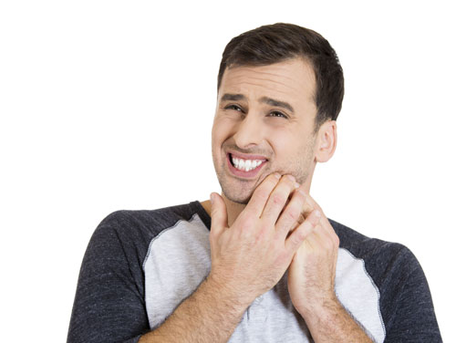 A man suffering from a periodontal gum pocket.